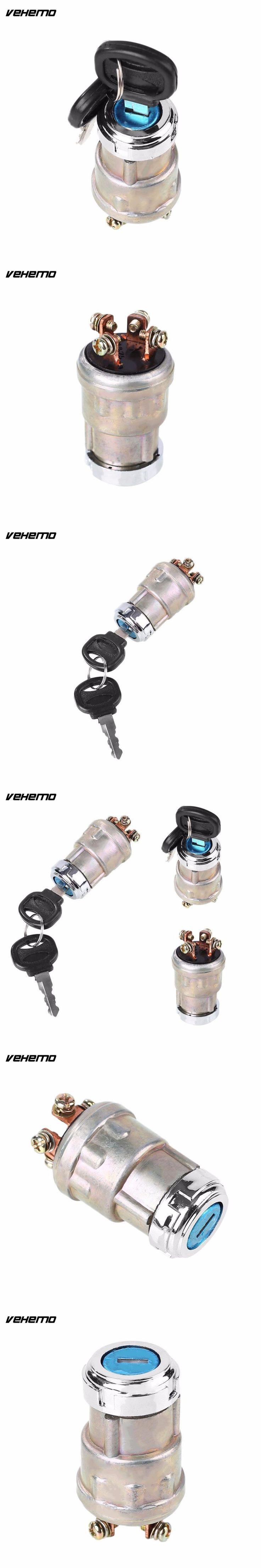 Vehemo Car Auto Boat 12V Alloy 4 Position Ignition Starter Switch w/2 Keys Kit For Petrol Engine