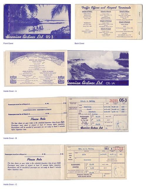 Hawaiian Airlines Tickets, 1950     http://www.maxonking.com