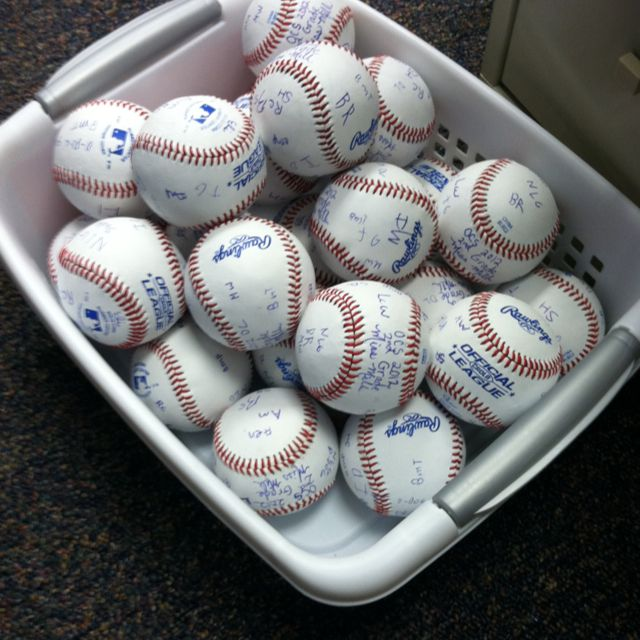 """End of Year Team Signed Baseballs: My classroom theme this year was baseball/sports with a great emphasis on teamwork. At the end of the year I bought these baseballs for my students. They wrote their initials. I signed each and added the year, grade, and school name. I kept one for myself in addition to giving one to each student.  My hope is to do this with every class and be able to display my """"teams"""" over the years."""