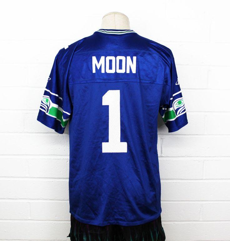 Vintage 90s Warren Moon Seattle Seahawks Jersey Numbered Logo Athletic Blue Medium Football Mesh Baggy NFL Jersey