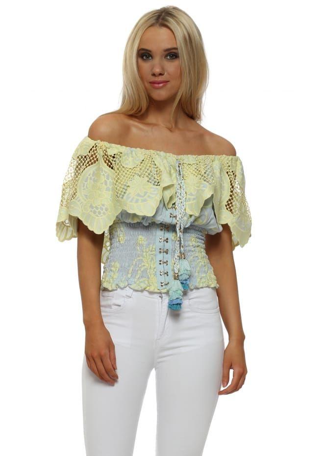 7287b25e0dded Yellow   Blue Lace Bardot Top