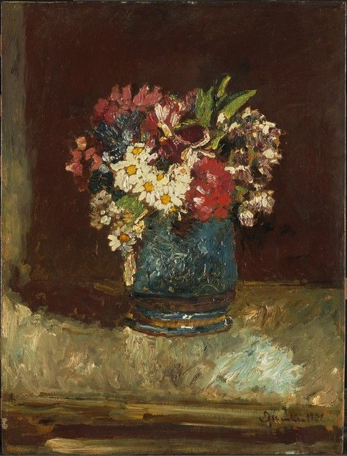 ADOLPHE-JOSEPH-THOMAS MONTICELLI FRENCH, 1824–1886  FLOWERS IN A BLUE VASE c. 1875 Oil on panel 24 5/8 x 18 3/4 in. (62.5 x 47.6 cm) Frame: 32 5/16 x 26 1/2 x 2 5/8 in. (82.1 x 67.3 x 6.7 cm)  Acquired by Sterling and Francine Clark, 1927 1955.911