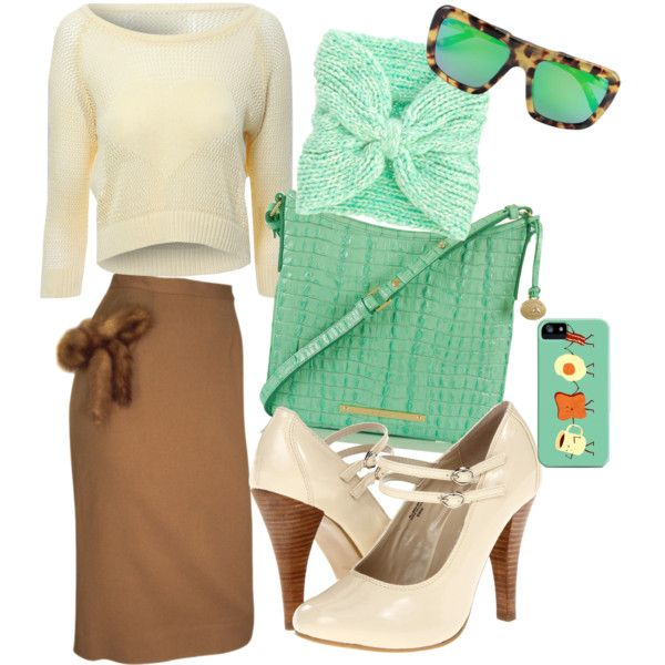 Jw fashion. Modest cozy winter sweater skirt outfit. Creams, brown, mint green.