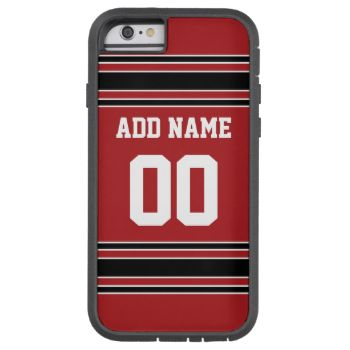 Red and Black colors -- If you are a Fantasy Football team owner, make your own products and show off to your friends! Or - Do you play High School Football and want a memento? This jersey design is perfect for anyone playing sports. #football #sports #fantasy #team #soccer #college #teams #athlete #spirit #teen #league #men #boys