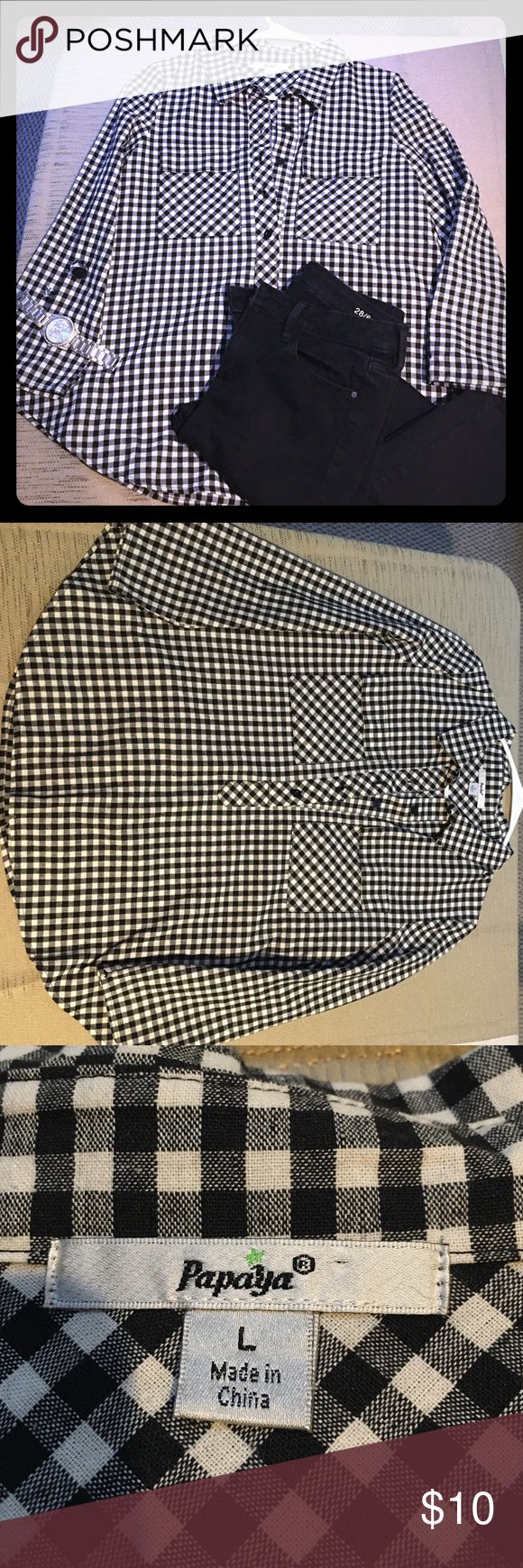 B&W Checkered flannel style shirt Black & white Checkered flannel style shirt. Never worn! Super cute! Loose fit with flared bottom Papaya Tops Button Down Shirts