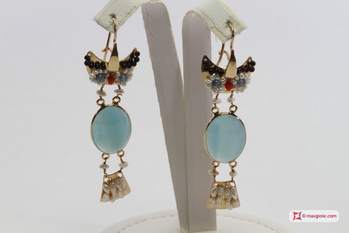 Owl with Sea Blue Chalcedony Earrings [Pearls, Coral, Garnet] in Gold Plated Silver - Orecchini Gufo con Calcedonio Sea Blue [Perle, Corallo, Granato] in Argento placcato Oro #jewelery #luxury #trend #fashion #style #italianstyle #lifestyle #gold #store #collection #shop #shopping  #showroom #mode #chic #love #loveit #lovely #style #all_shots #beautiful #pretty #madeinitaly