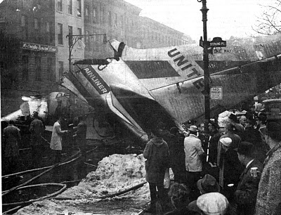 This happened less that 1 mile from where I lived.  I was 11 months old.  December 16, 1960, United Airlines flight 826 collided with TWA flight 266.  The United plane crashed in Park Slope, killing the 84 people on board and six people on the ground. At the time it was the worst air disaster in U.S. history.