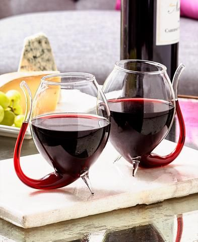 Wino Sippers Set of 2 Unique Extra Large Wine Glasses with Built In Straws