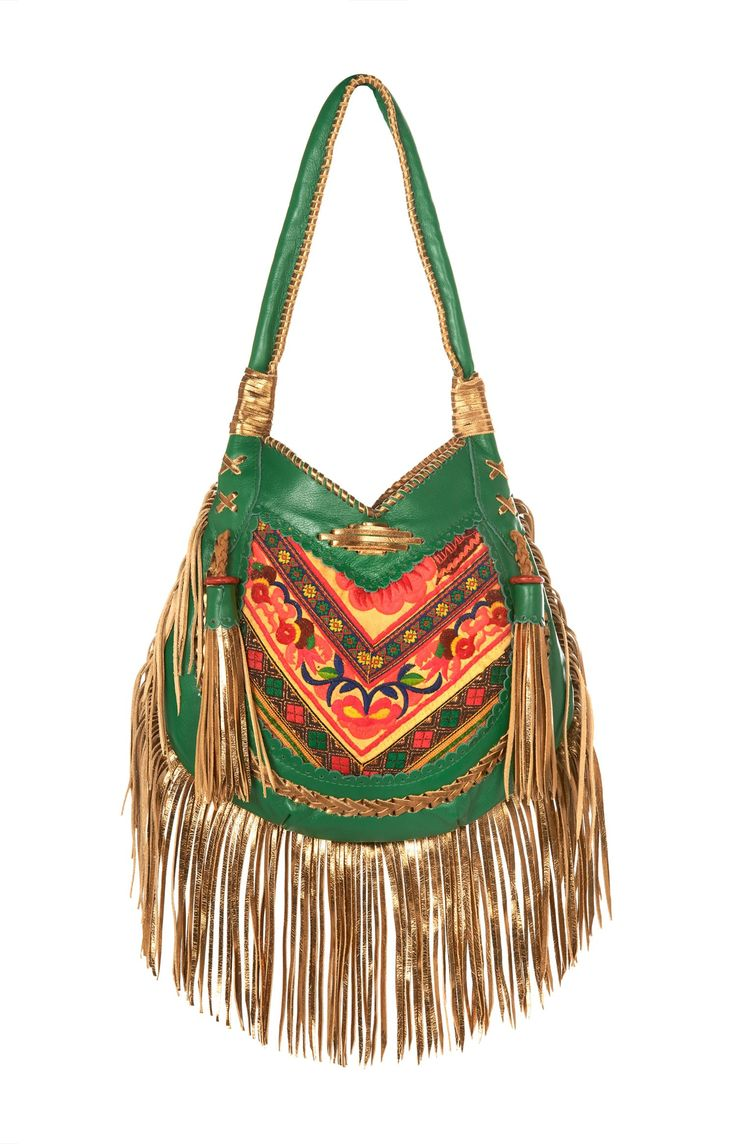 golden green boho bag