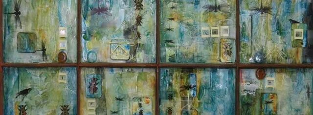 Altered world - glass and mixed media artwork