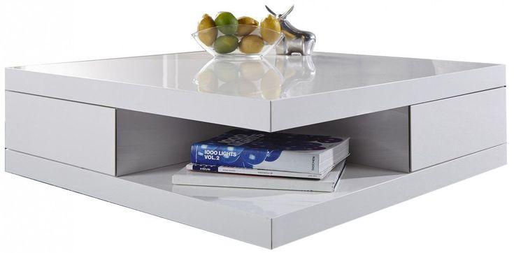 Table Basse Carree 85x85cm Avec 2 Tiroirs Coloris Blanc Laque Decoracion De Unas