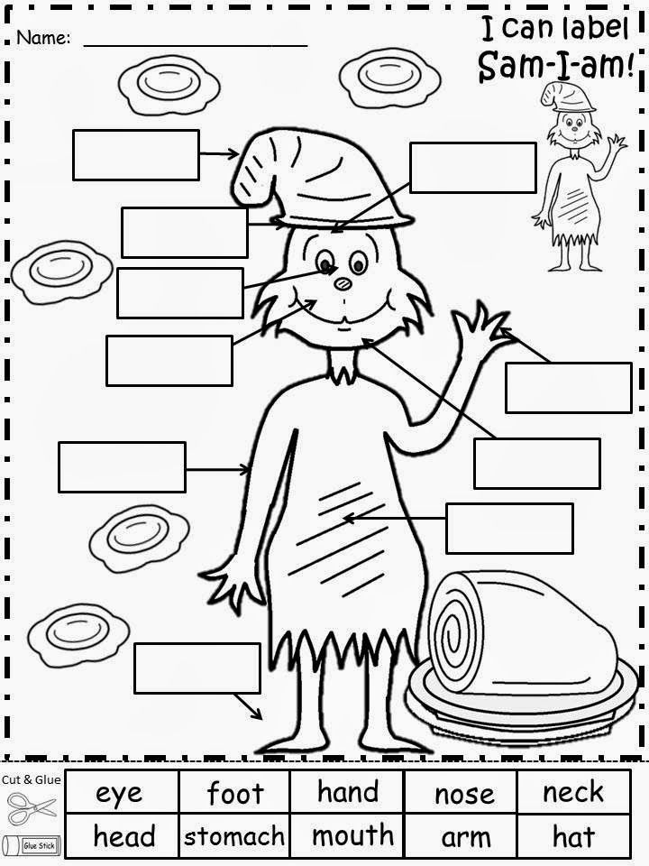 ... Dr Seuss Math Worksheets. See more. Free: Sam-I-am Labeling Sheet...Cut and Glue Activity