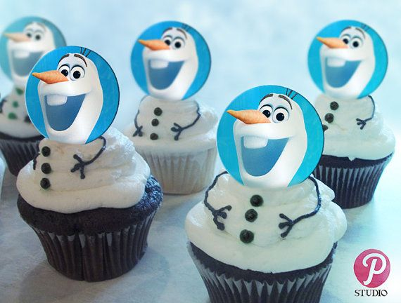 Frozen Olaf Cupcake Toppers Party Favors by prettypixelstudio