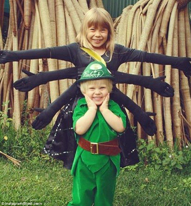 Adorable: Bindi Irwin shared a ridiculously cute snap of her and her brother Robert in Halloween costumes in 2007
