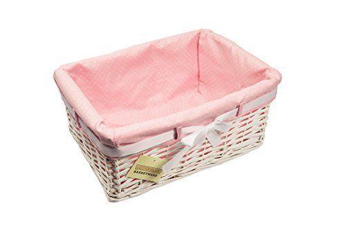 1 X Medium Woodluv Rectangular White Willow Wicker Hamper Storage Basket-With Pink Dot Linning (Gift Hamper Basket ): Amazon.co.uk: Kitchen & Home