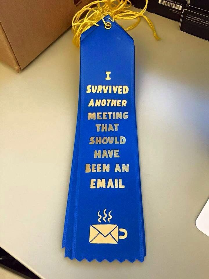 Staff meeting survival ribbon