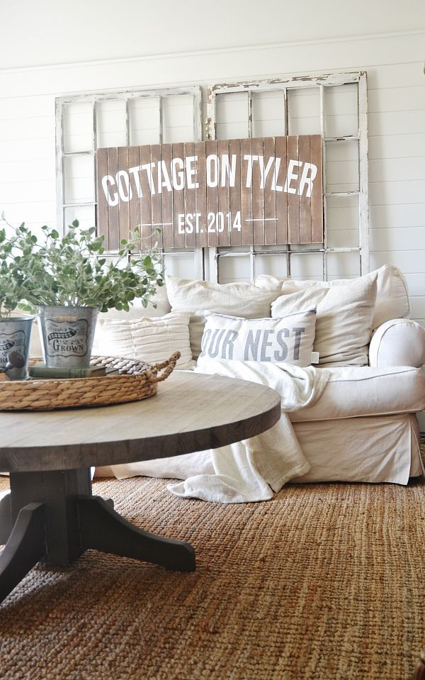 Neutral Cozy Cottage Living Room Decor