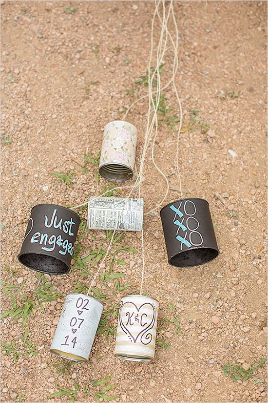 diy getaway cans! love this idea, see more here http://www.weddingchicks.com/2013/08/29/old-fashion-engagement/