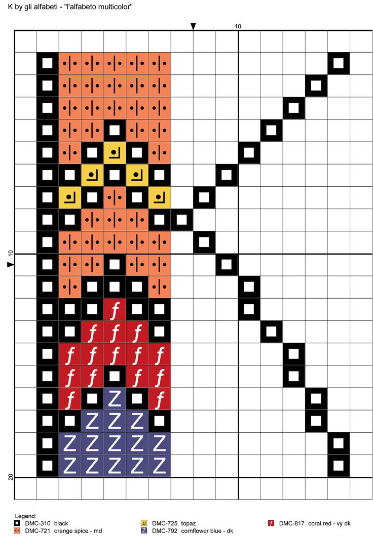 alfabeto multicolor K