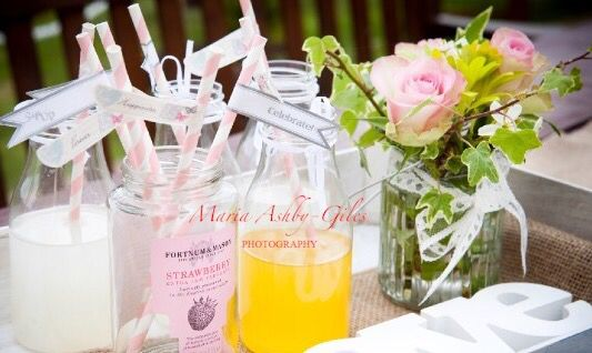 Hire our vintage style milk bottles, signage and create your own drinks stations for your guests to enjoy. Use jam jars to display straws. All available from Fuschia. Add flowers for extra decor...