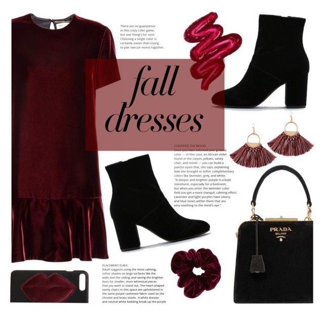 """Fall Fashion: Dresses"" by sandralalala ❤ liked on Polyvore featuring Yves Saint Laurent, American Eagle Outfitters, Prada, Kendall + Kylie and Obsessive Compulsive Cosmetics"
