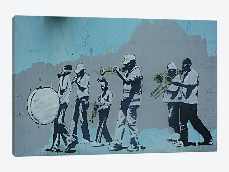 "Musicians by Banksy Canvas Print 40"" L x 26"" H x 0.75"" D - eWallArt"
