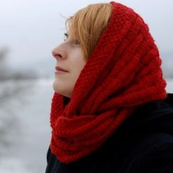 This red infinity scarf is knit in a basketweave pattern - it will definitely keep you warm!