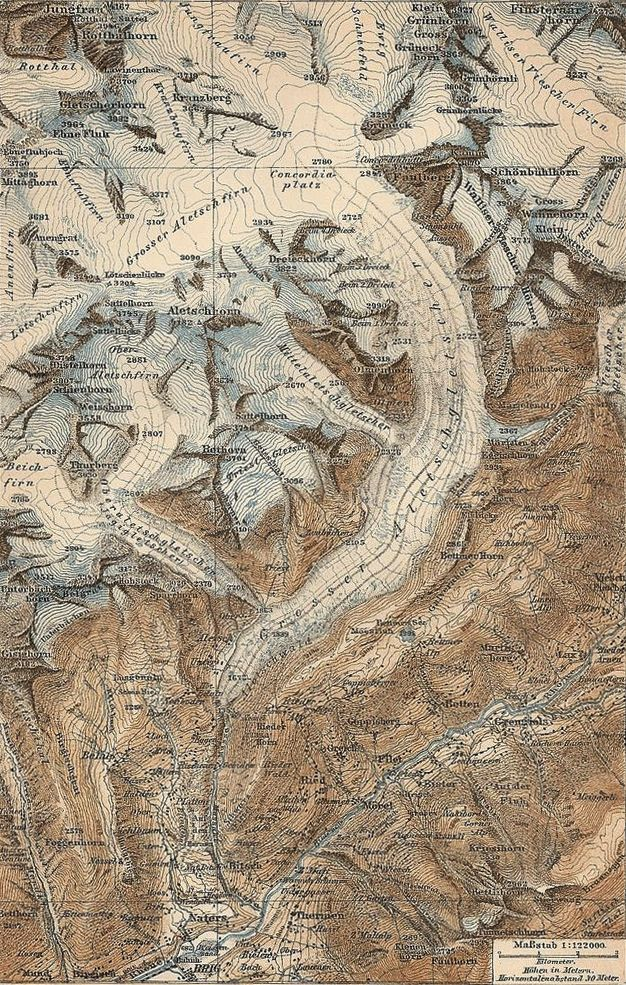 This map drawn in shows the Aletschgletscher