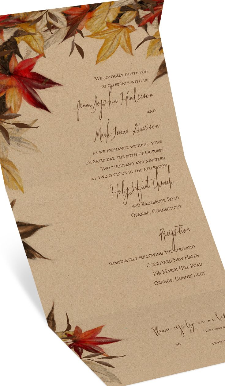 Beautiful Fall wedding invitations featuring a kraft colored background and gorgeous fall color palette. A unique Seal & Send format too - so clever!