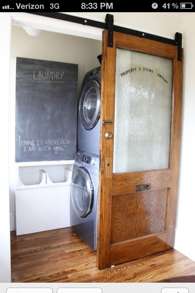 """would love to have a sliding """"barn door"""" separation if would work in new laundry/craft room"""