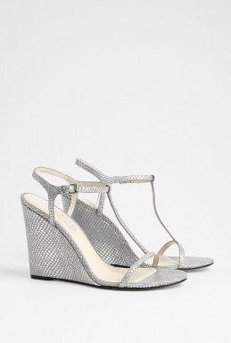 Dream Shoe For Lindsey's Wedding: Michael Kors Silver Snake Strappy Wedge Sandal