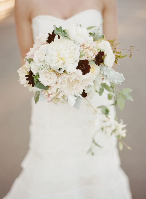 beautiful white bouquet of garden roses, dahlias and chocolate cosmos by Daisy Rose: