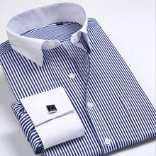 2016 la camisa de las mancuernas de Uñas manga hombres calientes de la Marca de Rayas Formales vestido de boda de la marca de manga larga camisas de los hombres más tamaño S5xl 6xl(China (Mainland))