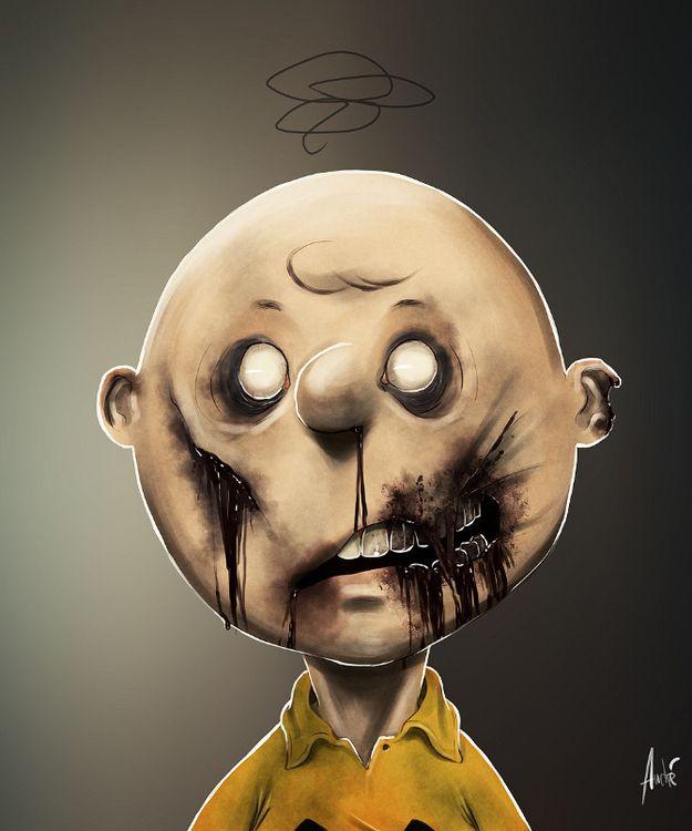 Zombified Cartoon Caracters by Andre De Freitas!!! #art #zombie  Charlie Brown