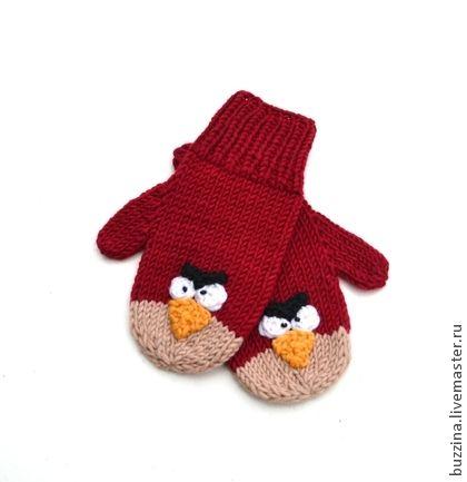 Варежки детские вязаные Angry birds - варежки,варежки вязаные,варежки детские