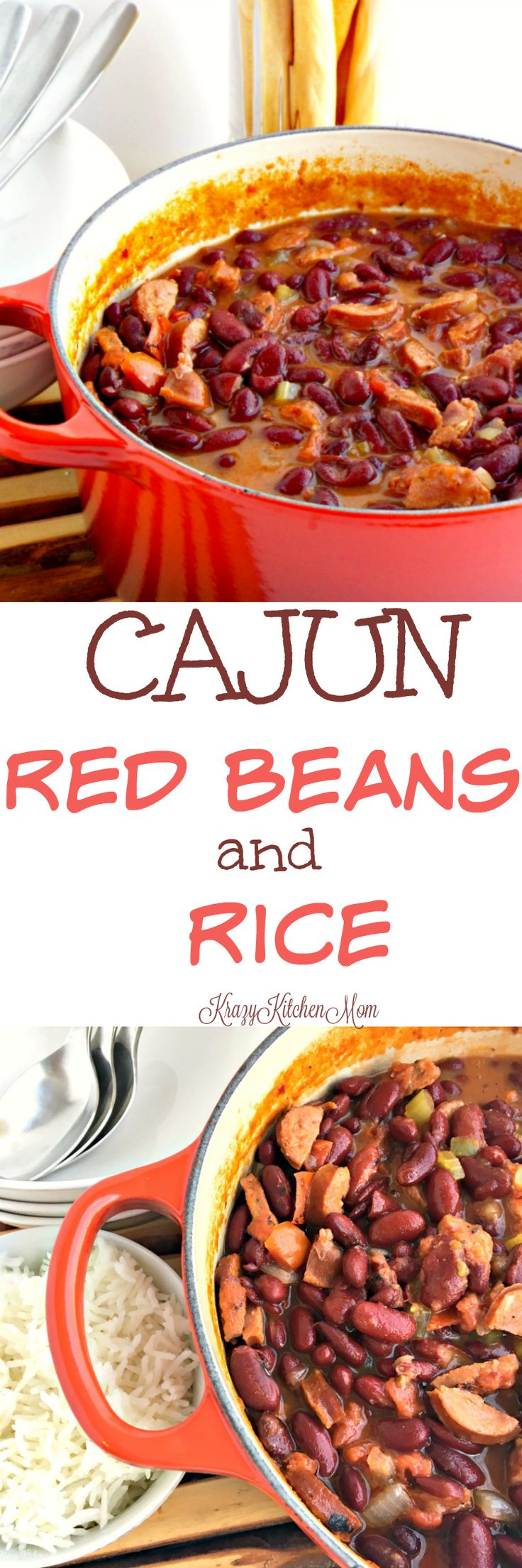 Cajun Red Beans and Rice A spicy pot of Cajun Red Beans and Rice - just perfect for a cool evening. It's packed with andouille sausage and hearty red kidney beans.