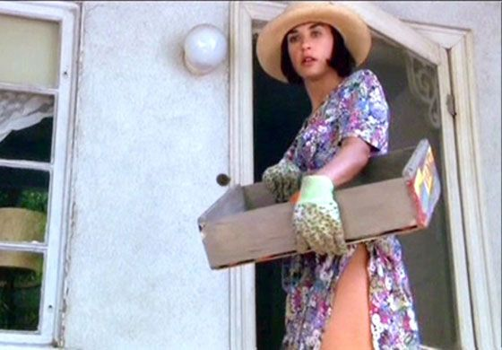 """Demi in her """"gardening clothes"""" from a scene in Indecent Proposal. Google Image Result for http://onthisdayinfashion.com/wp-content/uploads/2011/04/Demi-Moore-floral.jpg"""