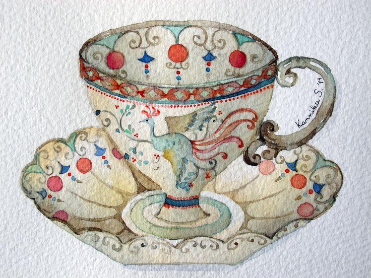 04-08-11 Tea Cup #4 (Watercolor : 10x13cm.) | Bua S | Flickr
