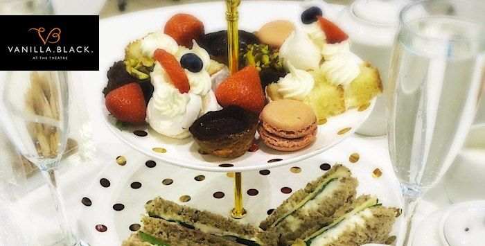 £29.95 Afternoon Tea + Prosecco for 2 at Vanilla Black at the Theatre Royal, Glasgow.  This Christmas gift deal is now available at 5pm.co.uk.