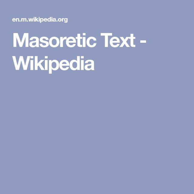 Masoretic Text - Wikipedia