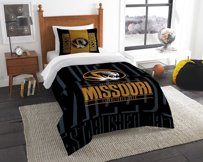 Missouri Tigers Modern Take Twin Comforter Set. Includes 1 Sham and 1 Twin Comforter. Visit SportsFansPlus.com for Details.