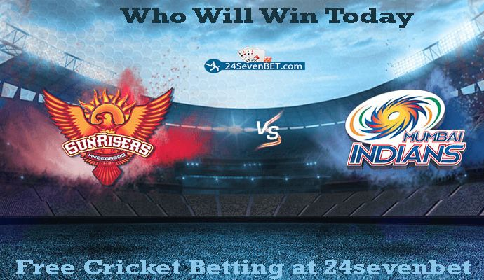 #IPL 48th Match. #MIvsSRH Predict who will Win Today. Place free bet & Win #prizes Online at 24sevenbet