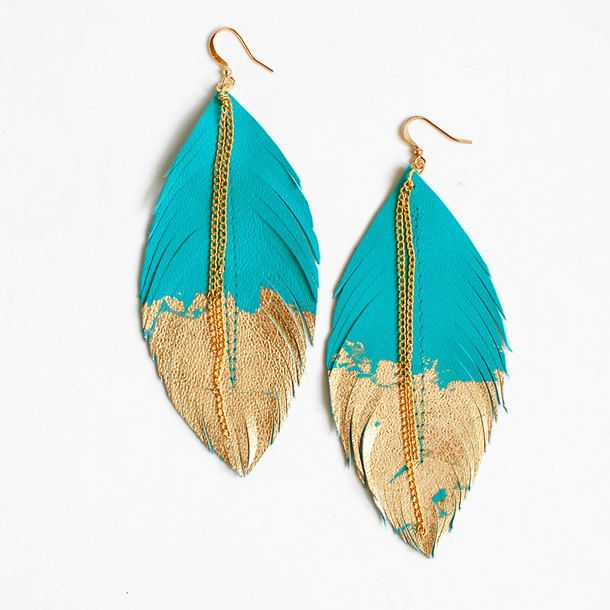Feather Earrings Turquoise