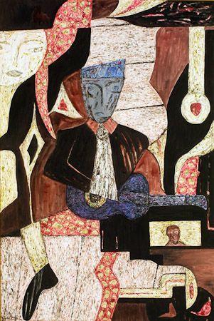 The guitar player rock, 1999, quartz sand, pigments, synthetic wax fusion on canvas 150x100 cm