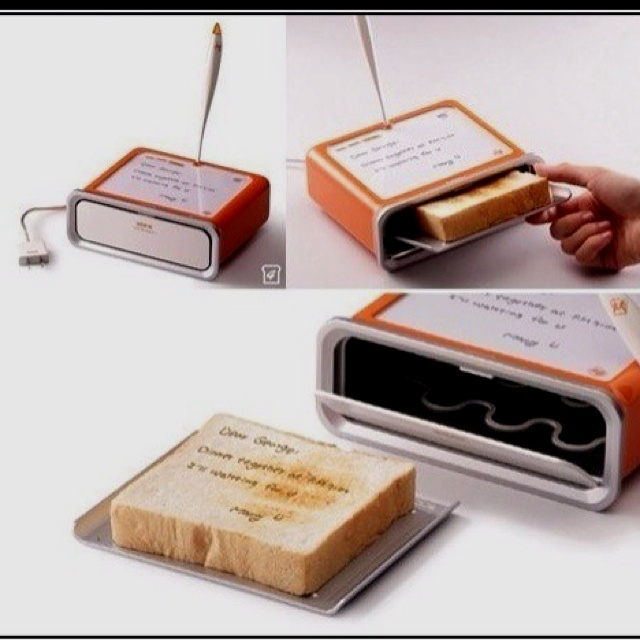 Write a note and this toaster will put it on bread.: Ideas, Stuff, Awesome, Bread, Things, Toaster, Products, Messages