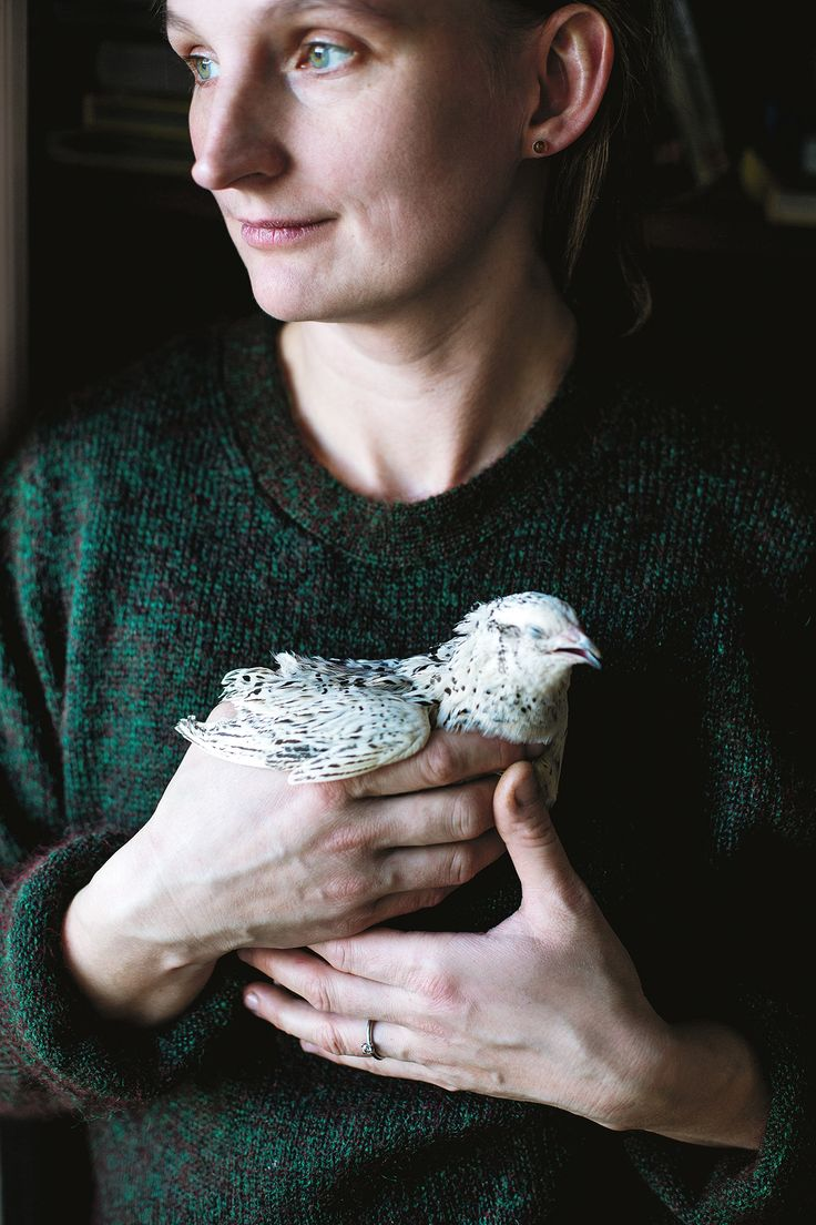 karolina with quail from Rosa Farm Inteview about most expensive eggs in Sweden