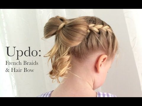Updo: French Braids and Hair Bow - YouTube