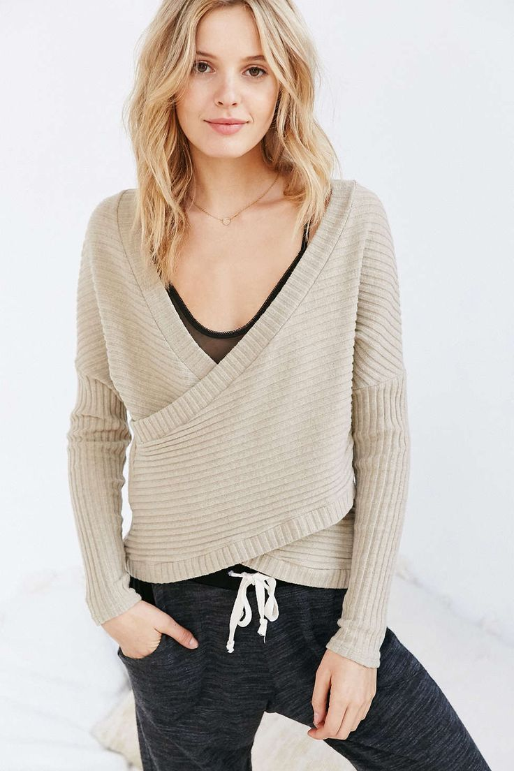 Out From Under Dancer Ribbed Wrap Sweater - Urban Outfitters