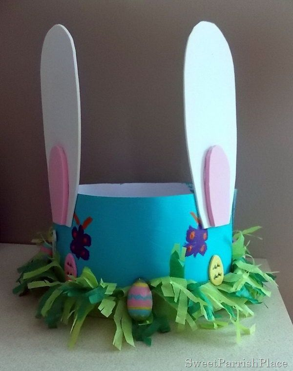 Sweet Easter Bonnet. This Easter bonnet is so cute. DIY it with craft paper to form the hat model and you can paint your beautiful pattern with the color you like. As usual, glue the ears and then you can make some decorations with colorful tissue paper and tiny Easter eggs. http://hative.com/cool-easter-bonnet-or-hat-ideas/
