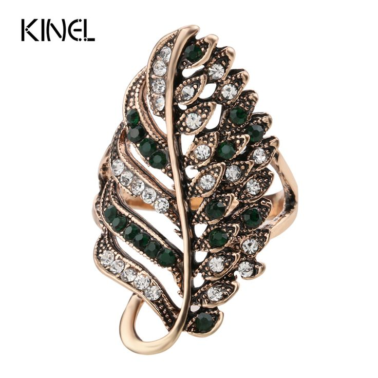Kinel Fashion Green Crystal Wedding Engagement Rings For Women White Gold Plated Vintage Jewelry Female Ring Bijoux Wholesale